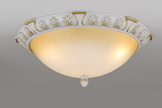 White with Gold Resin Base Modern Ceiling Flush Mounts