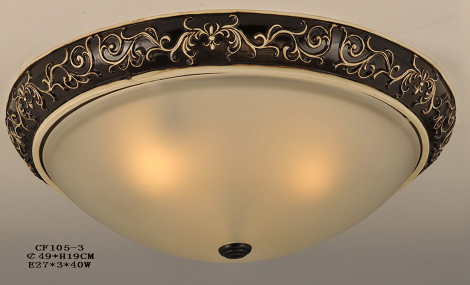 Black with White Floral Craft Effect Nursery Ceiling Flush Mounts