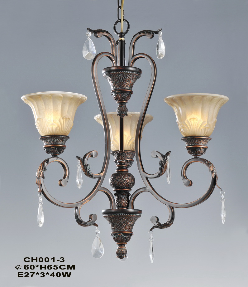 Traditional 3-Light Copper Chandeliers with Transparent Pendants