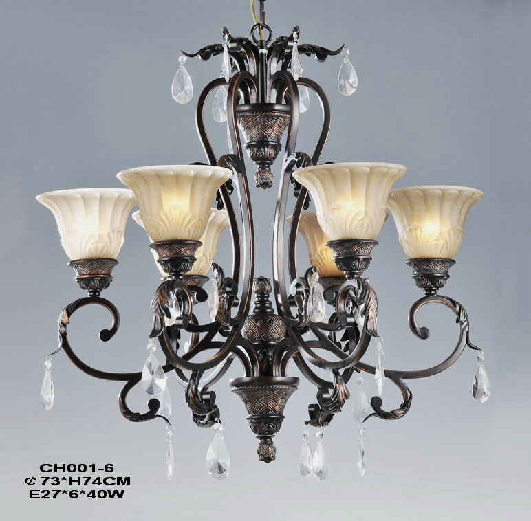 Exquisite 6-Light Copper Chandelier at Cheap Prices