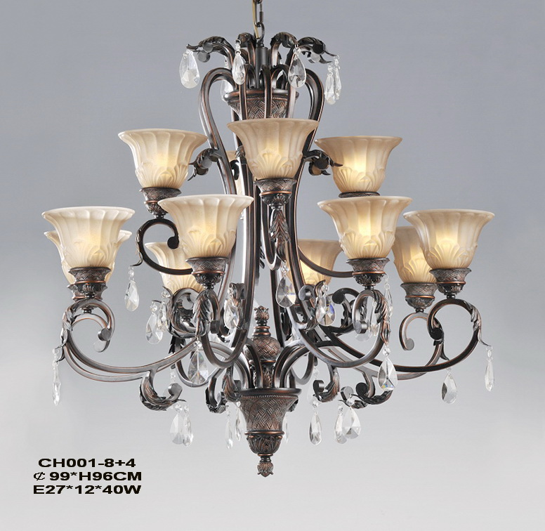 Upscale Rustic 12-Light Copper Chandeliers