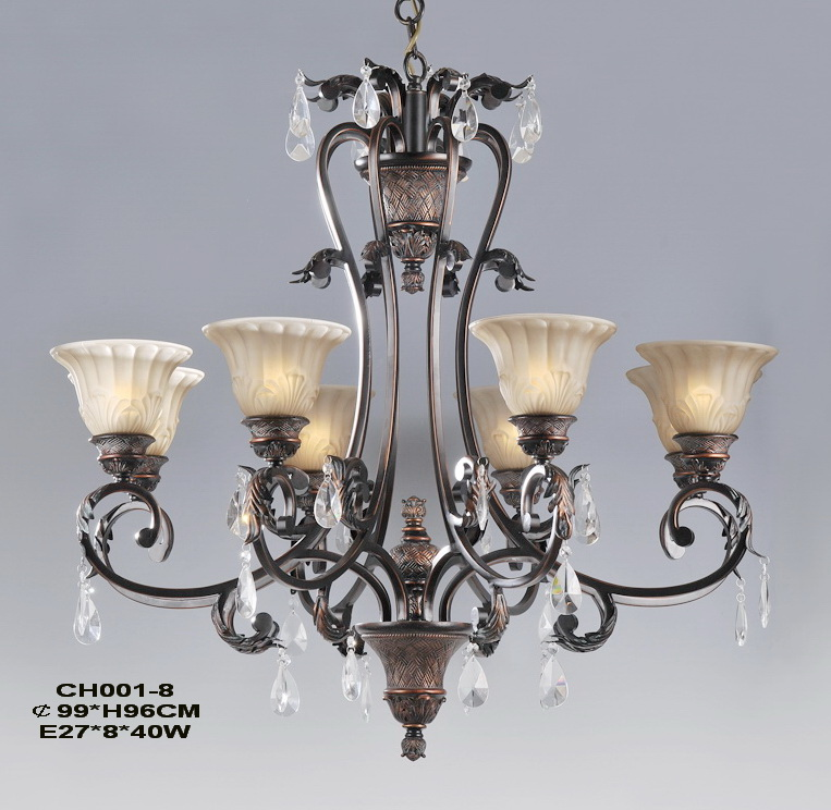 8-Light Copper Forged Iron Chandeliers