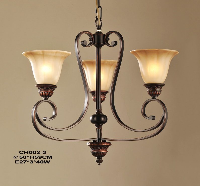 Elegant 3-Light Copper Kitchen Chandeliers