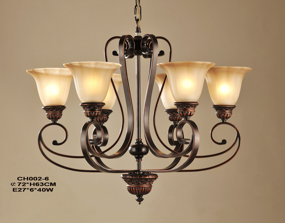 Delicate 6-Light Copper Iron Hall Chandeliers