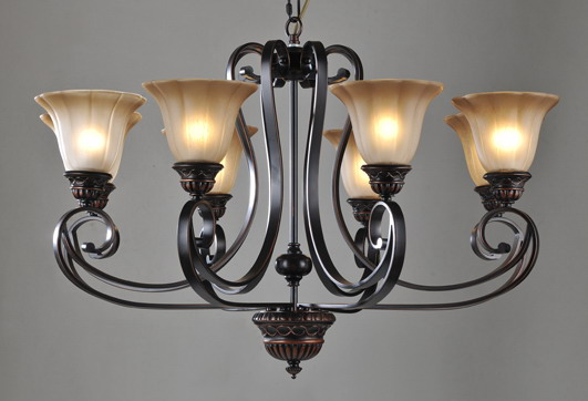 8-Light Grey Black Foyer Chandeliers