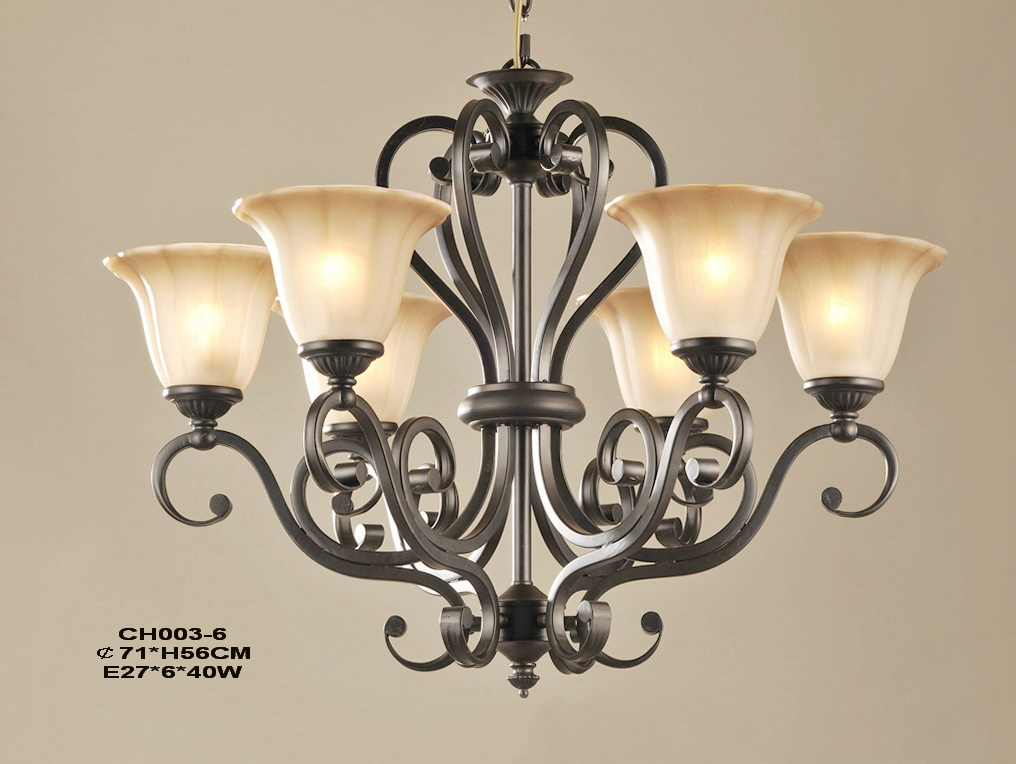 Outlet 6-Light Matte Black Iron Traditional Chandeliers