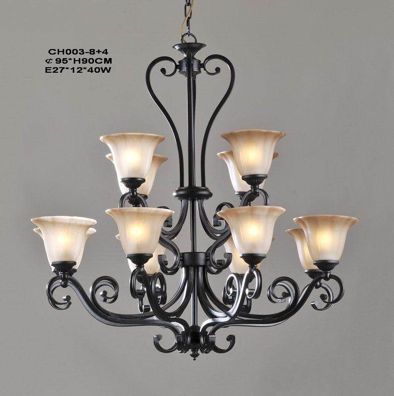 Stylish 12-Light Black European Chandeliers