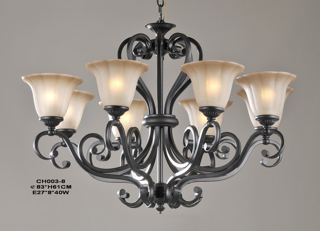 Classical 8-Light Black Iron LED Chandeliers
