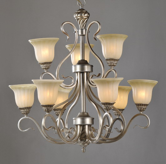 Delicate 9-Light Champagne Traditional European Chandeliers