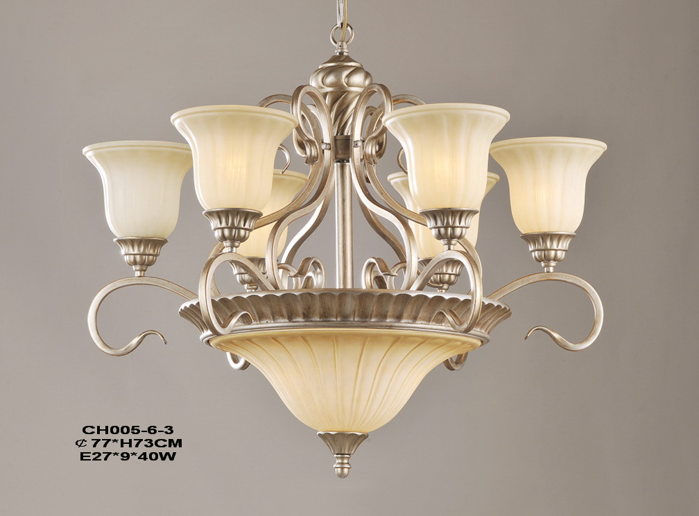 9-Light Champagne Iron Antique Chandeliers
