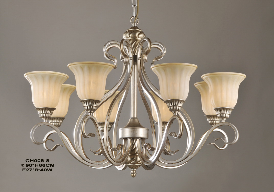 Outlet 8-Light Champagne Iron European Chandeliers