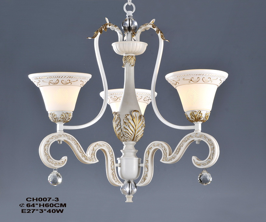 Exquisite 3-Light White Girls Room Chandeliers