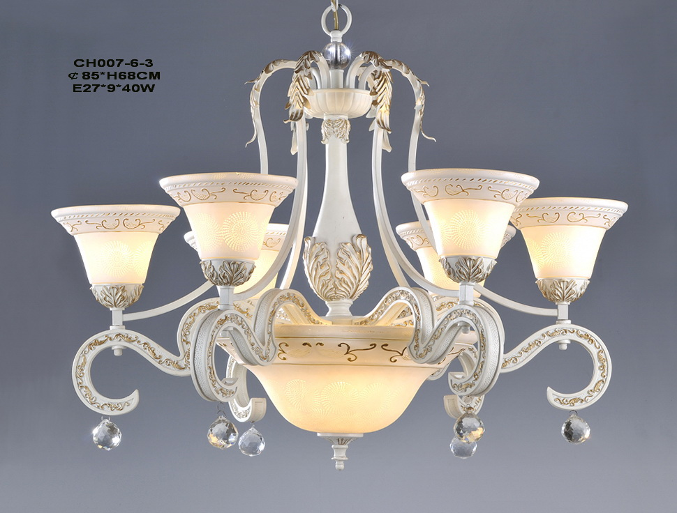 Outlet Graceful 9-Light White With Gold European Chandeliers - Click Image to Close