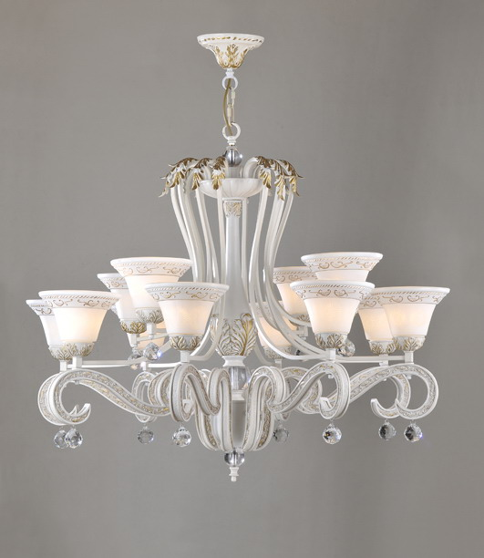 12-Light White with Gold Modern Crystal Chandeliers