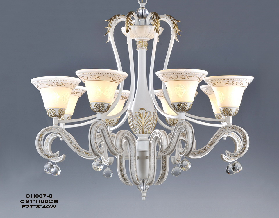 8-Light White with Gold Antique Chandeliers