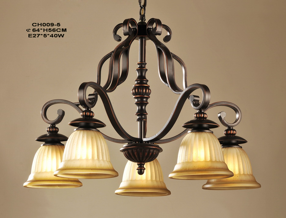 Antique 5-Light Copper Iron Chandelier