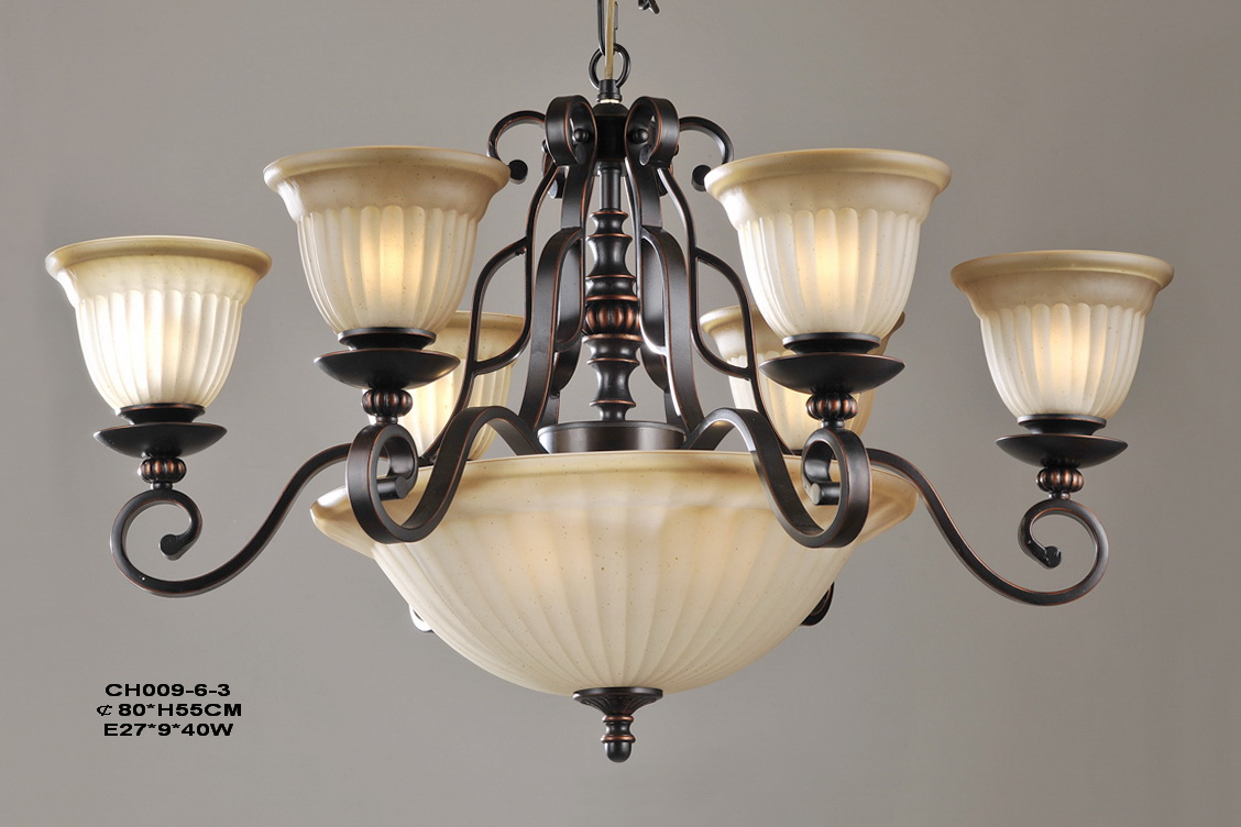 9-Light Copper Iron Modern Chandeliers