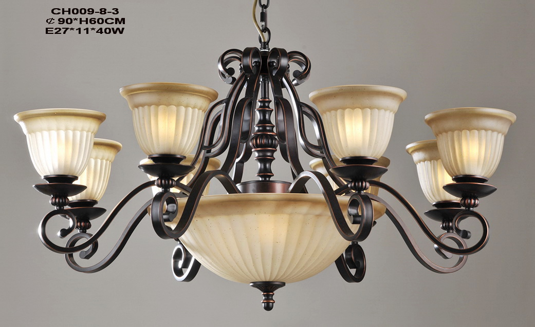 Delicate 11-Light Copper Antique Chandeliers at Low Prices