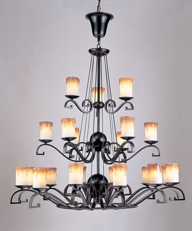 Prosperous 21-Light Black with Copper Metal Chandeliers
