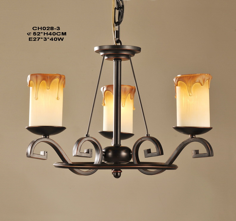 3-Light Faux Candle Antique Chandeliers