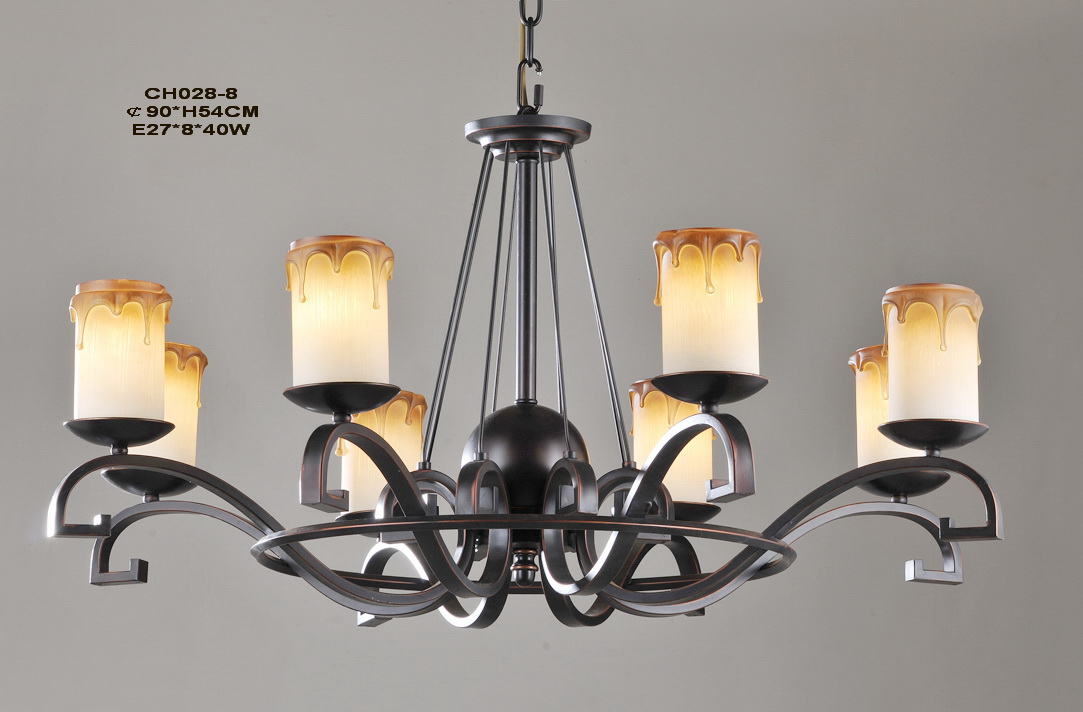 Upscale 8-Light Faux Candle Copper Metal European Chandeliers