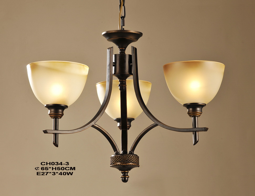 High Quality 3-Light Copper Metal Retro Chandeliers