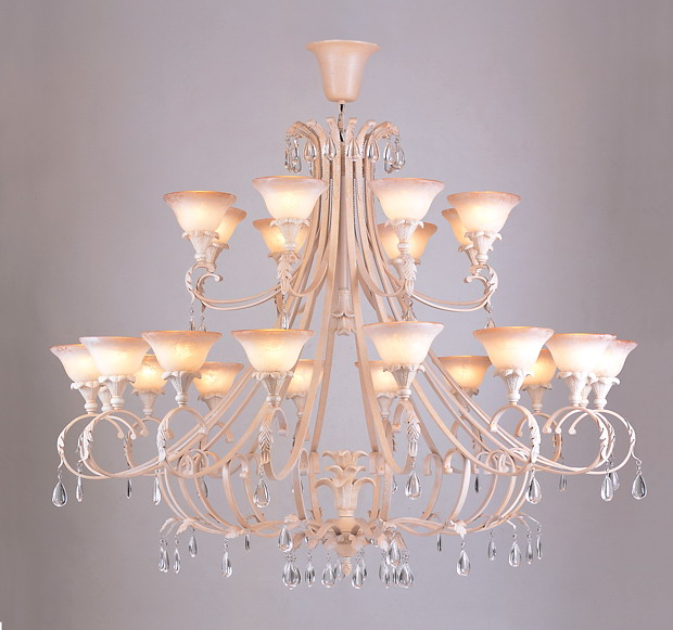 Elegant 24-Light Pink Chandeliens with Clear Crystal Pendant