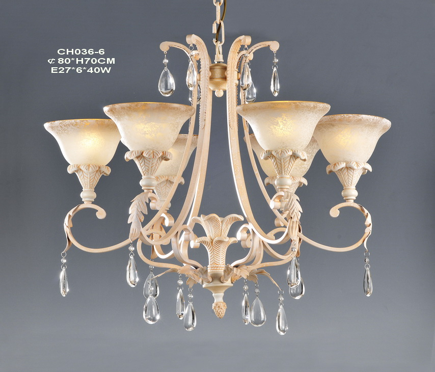 Outlet 6-Light Pink with Rust Effect Metal Modern Chandeliers