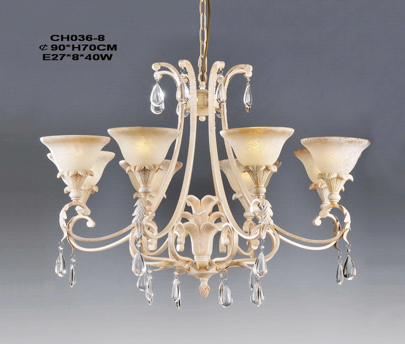 High Quality 8-Light Pink Chandeliers with Crystal Pedant Decoration