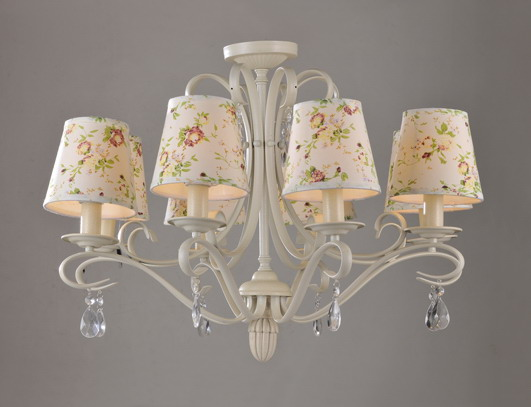 Discount 8-Light Offwhite Metal Colorful Printed Cover Modern Chandeliers