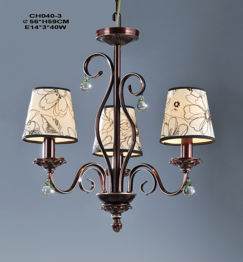 High Quality 3-Light Copper Modern Exterior Chandeliers