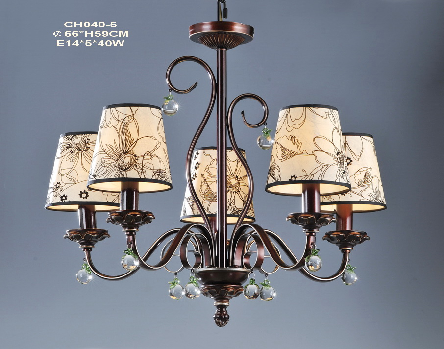 Outlet 5-Light Printed Cloth Art Cover Copper Chandeliers with Crystal Decoration