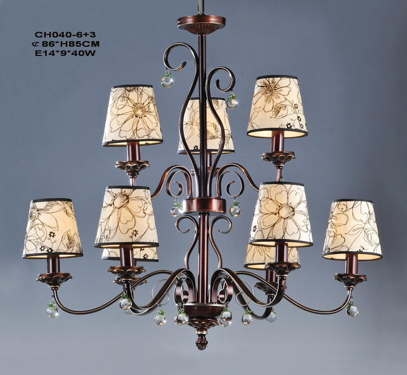 9-Light Printed Cloth Art Cover Copper Modern Chandeliers