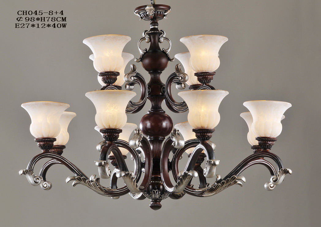 Delicate 12-Light Rust Metal Chandeliers