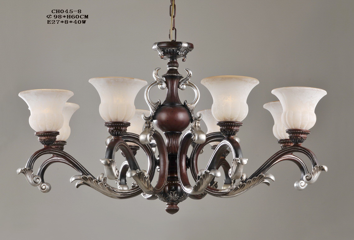 Luxurious 8-Light Rust Antique Chandeliers