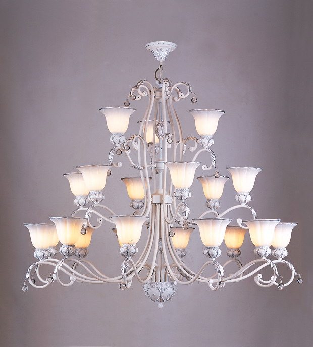 Prosperous 21-Light White with Antique Effect Traditional Chandeliers