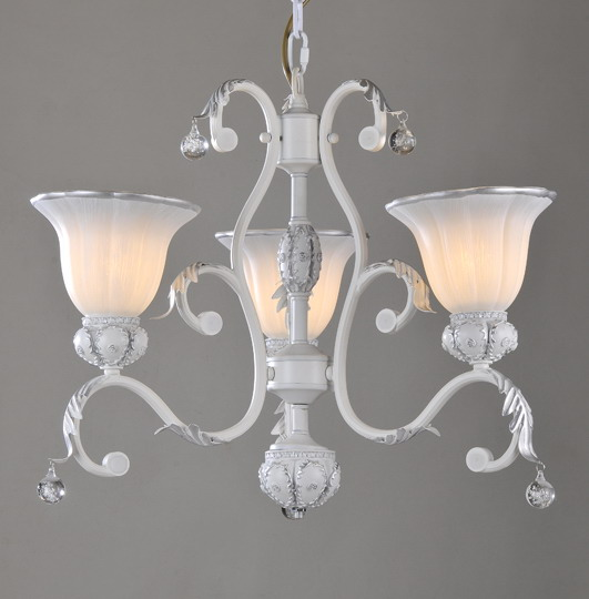 Seductive 3-Light White with Silver Metal Chandeliers