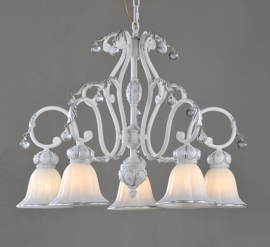 Exquisite 5-Light White with Silver Metal Chandeliers