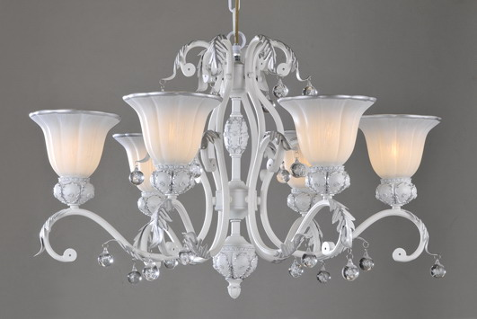 6-Light White with Silver Crystal Chandeliers