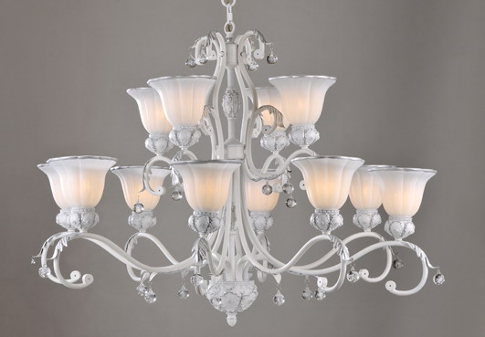 12-Light White with Silver Metal Chandeliers with Crystal Pendants