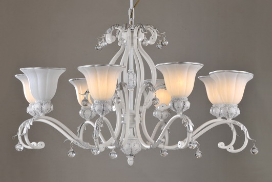Outlet 8-Light White with Silver Metal European Chandeliers