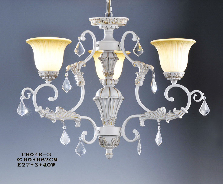 3-Light White with Silver Clear Crystal Antique Chandeliers