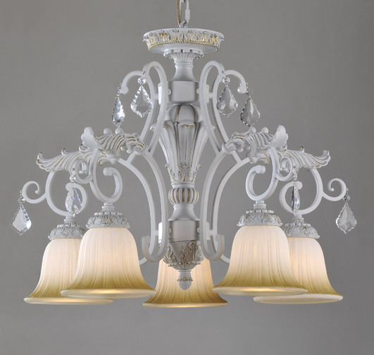 Outlet 3-Light White with Silver Metal Antique Chandeliers