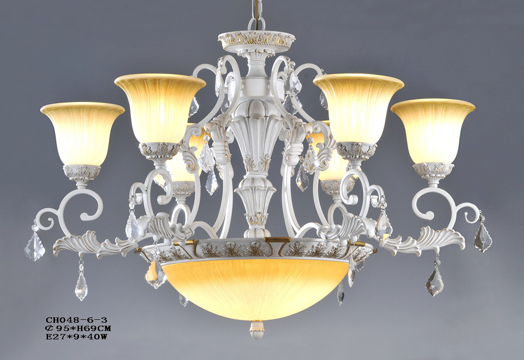 Exquisite 6-Light White with Silver Metal Glass Cover Antique Chandeliers