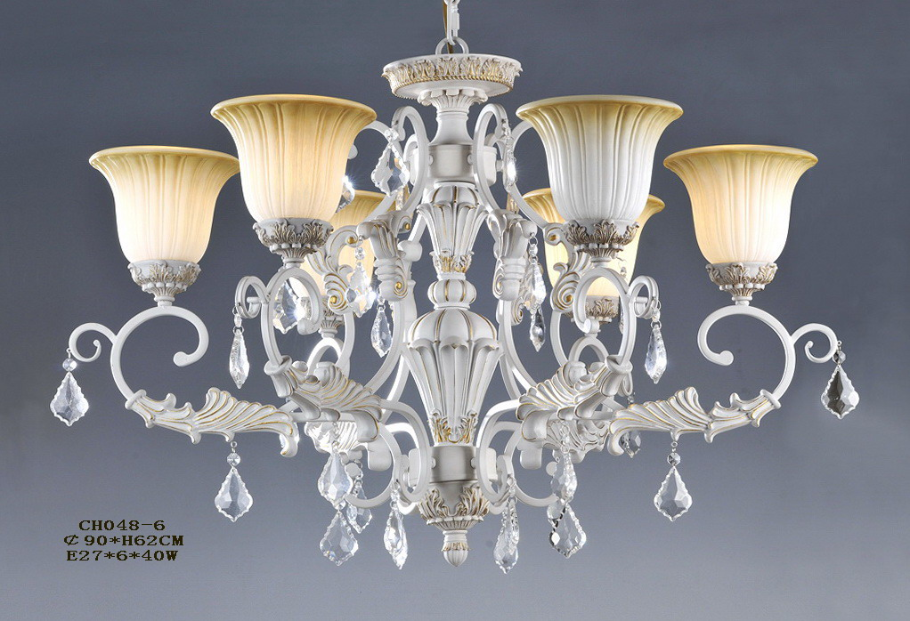 High Quality 5-Light White with Silver Crystal Chandeliers