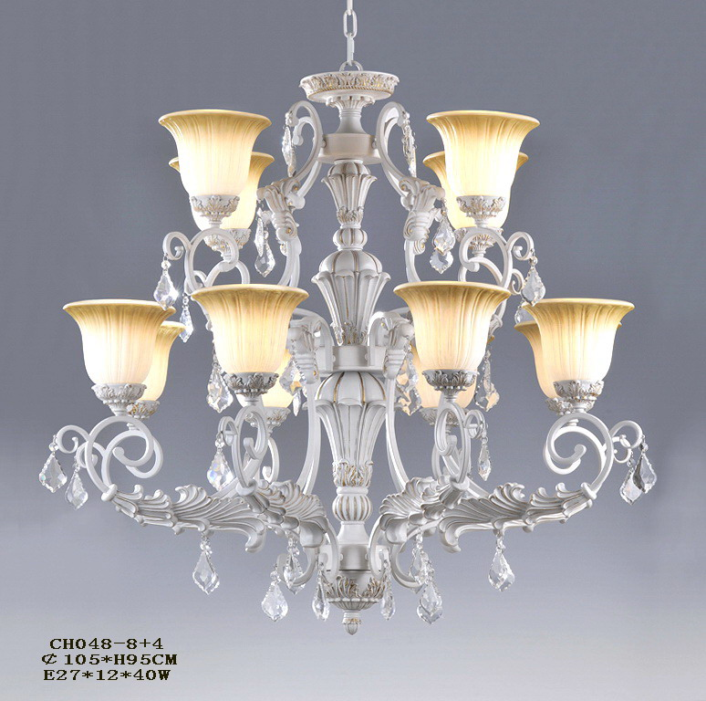 Stylish 8-Light White with Silver Iron Glass Cover Chandeliers with Crystal Pendant