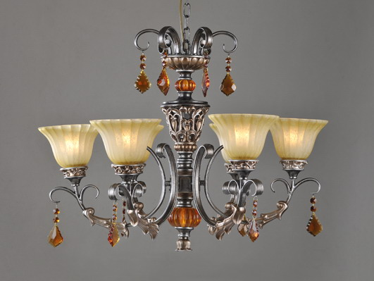 3-Light Rust Antique Chandeliers with Amber K9 Crystal Decoration