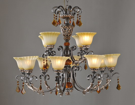 Discount 6-Light Glass Cover Amber K9 Crystal Rust Metal European Chandeliers