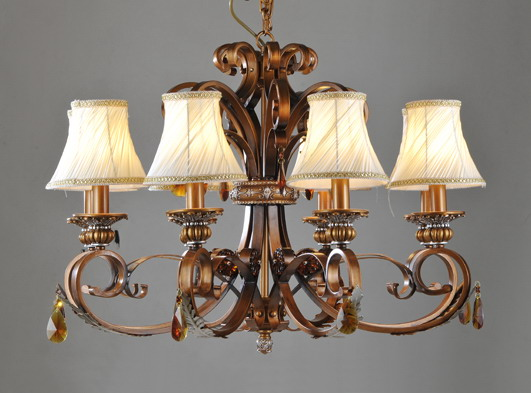 High Quality 9-Light Cloth Art Copper Iron European Chandeliers with K9 Crystal