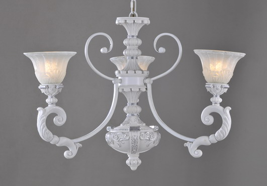3-Light White with Silver Metal Antique Chandeliers